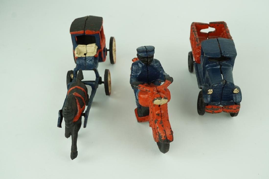 (3) ASSORTED VINTAGE CAST IRON TOYS