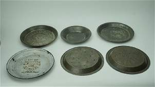 5 ASSORTED ANTIQUE PIE PANS