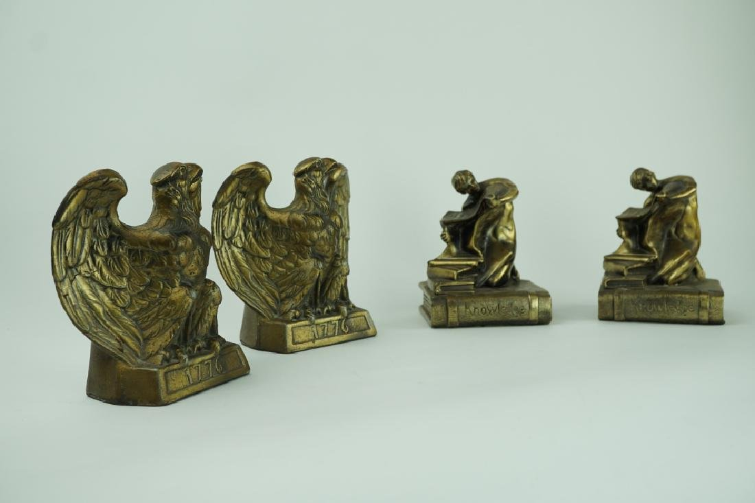 (2) PAIRS VINTAGE SPELTER BOOKENDS