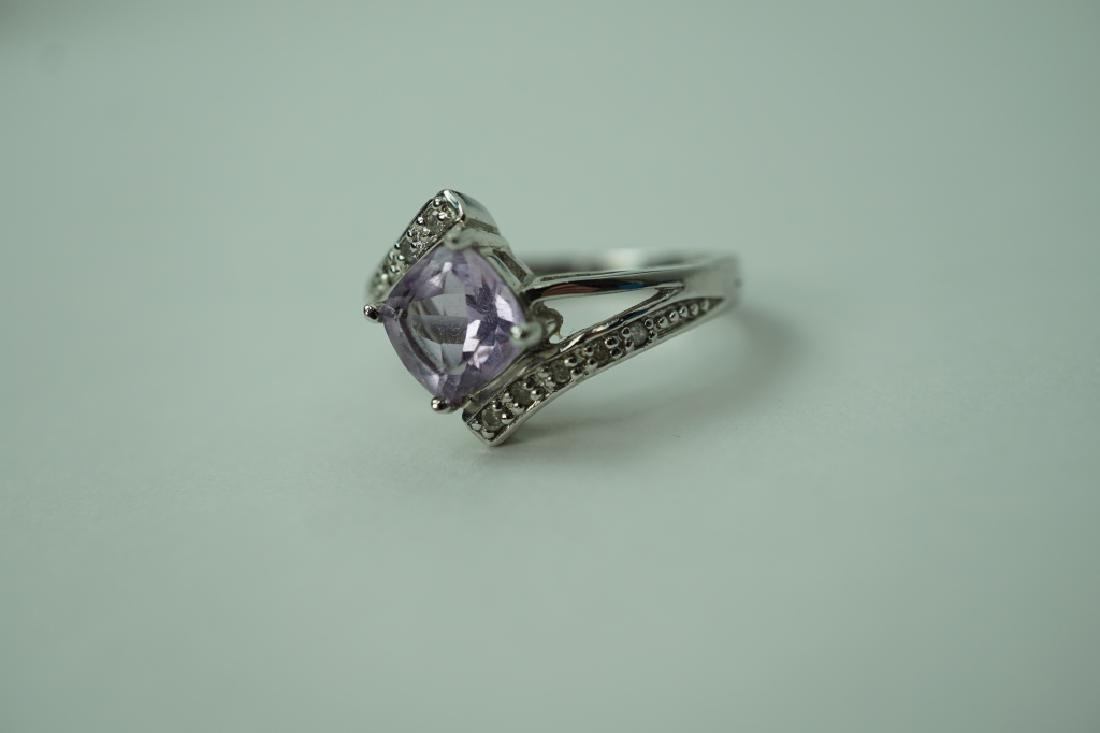 STERLING DIAMOND AND AMETHYST RING