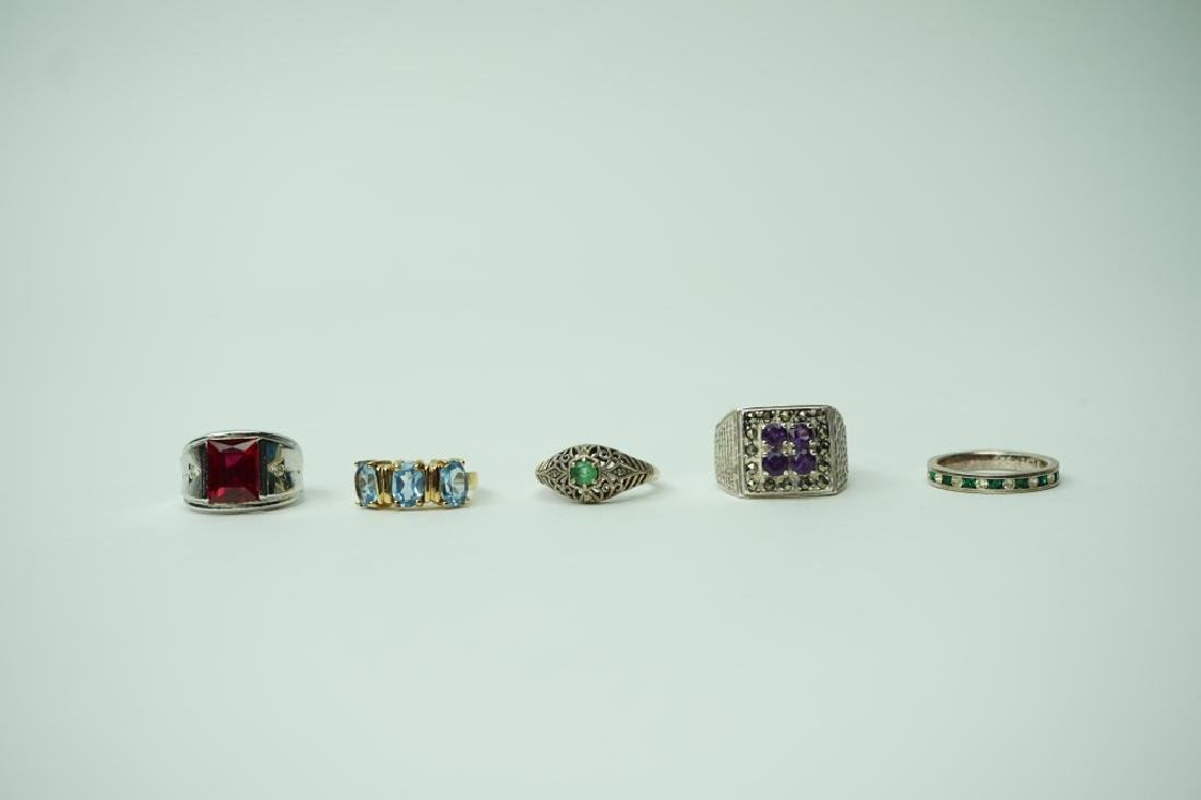 (5) ASSORTED STERLING SILVER RINGS WITH GEMSTONES