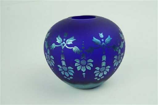 Fenton Favrene Satin Sandcarved Cobalt Glass Vase