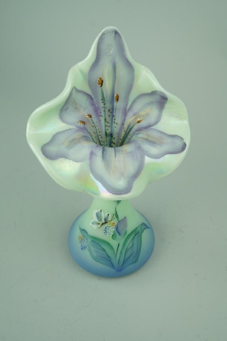 FENTON HAND PAINTED JACK-IN-THE-PULPIT VASE