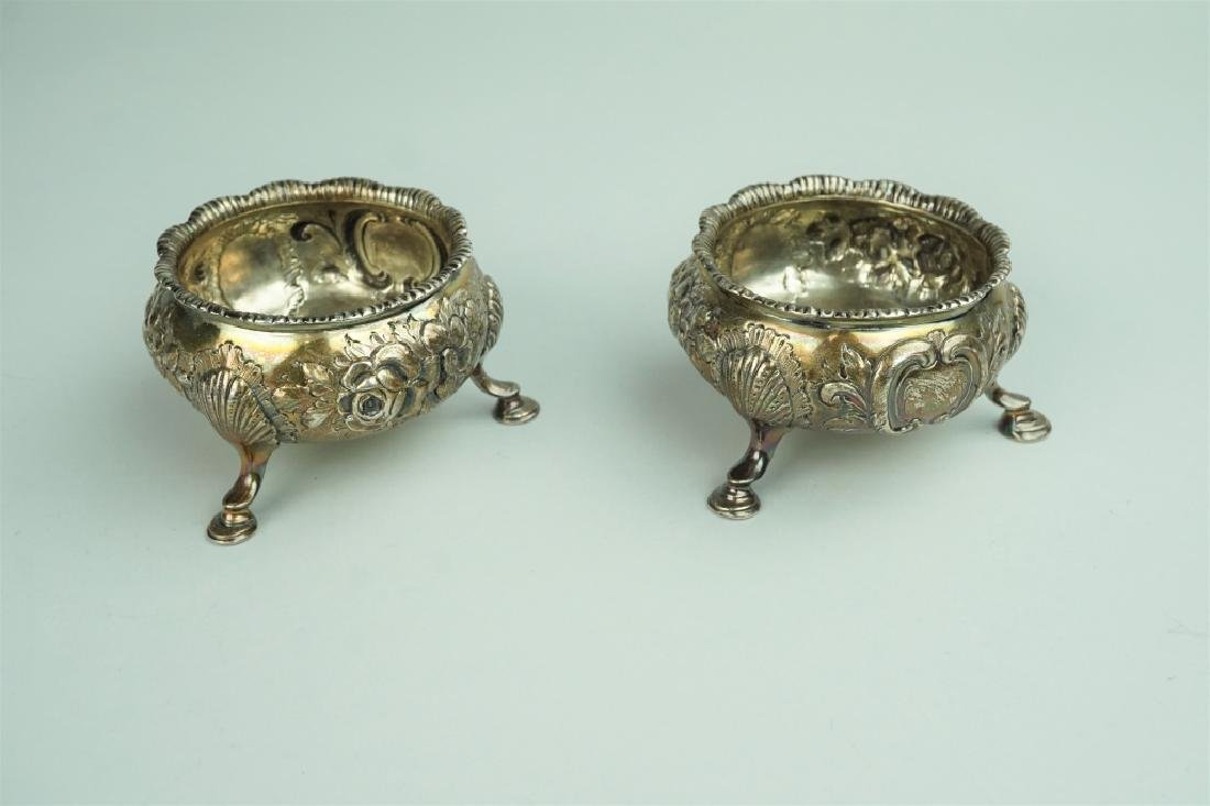 PAIR OF SILVER PLATE MASTER SALTS