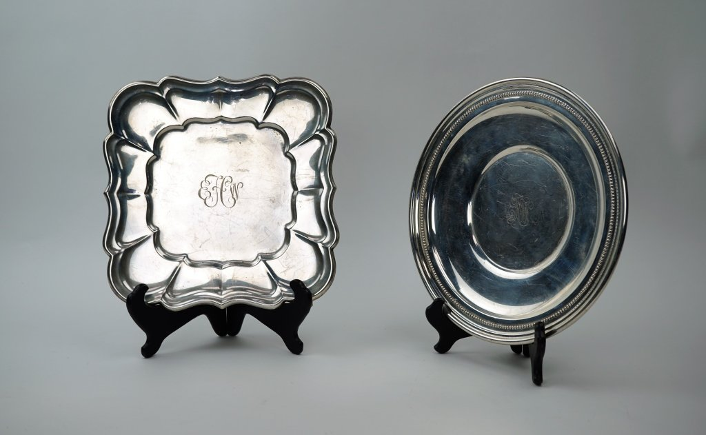 (2) VINTAGE STERLING SILVER TRAYS
