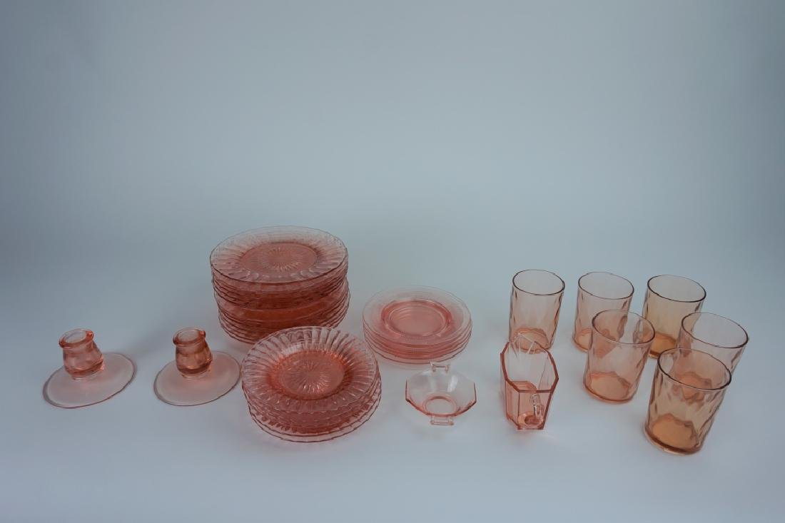 35pcs ASSORTED HEISEY PINK COLOR GLASSWARE
