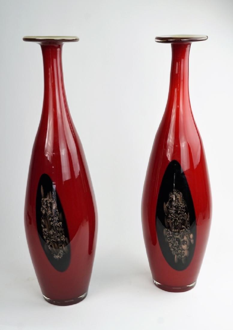 PAIR OF TALL MODERN ART GLASS VASES