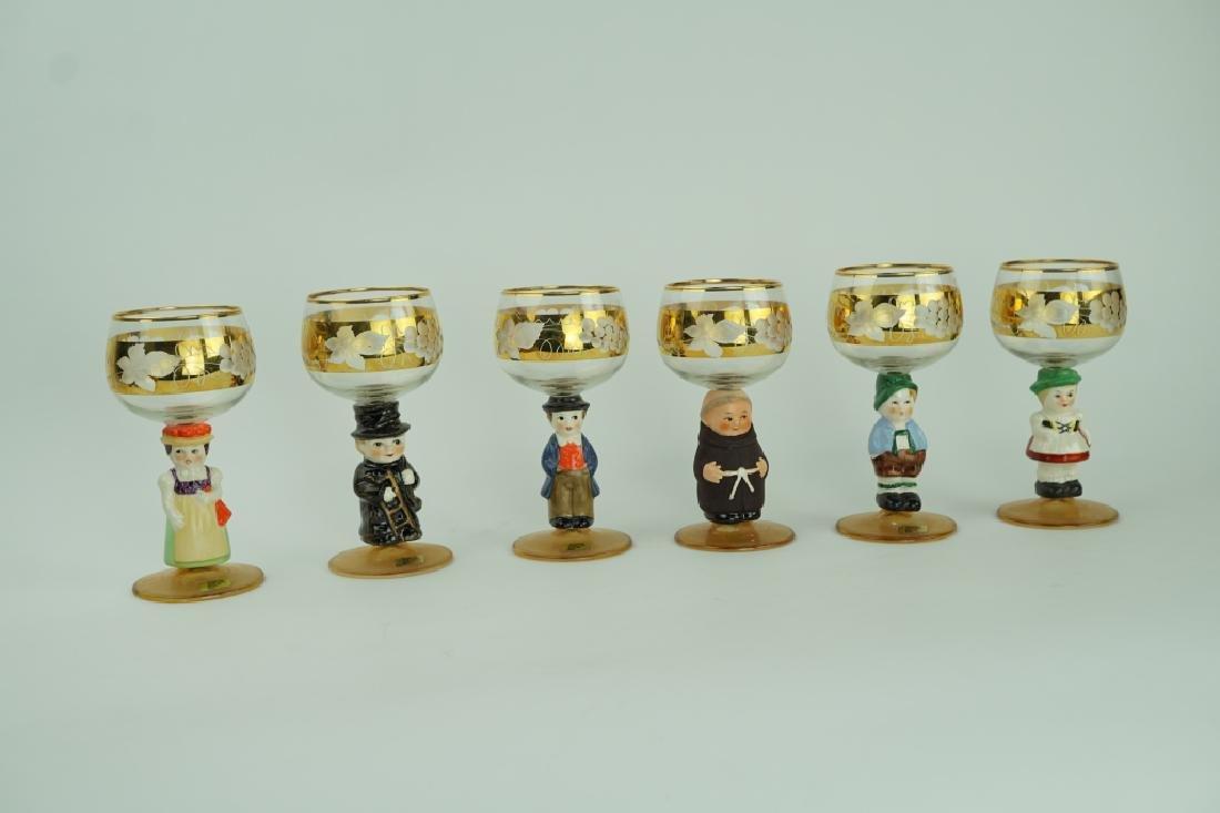 (6) VINTAGE WEST GERMAN FIGURAL GLASSES