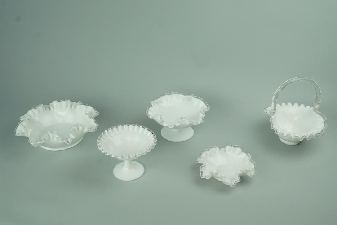 5pcs ASSORTED FENTON RUFFLED IVORY GLASSWARE