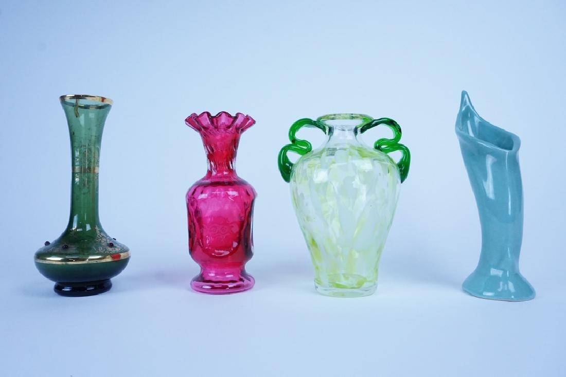 4pcs ASSORTED ART GLASS VASES