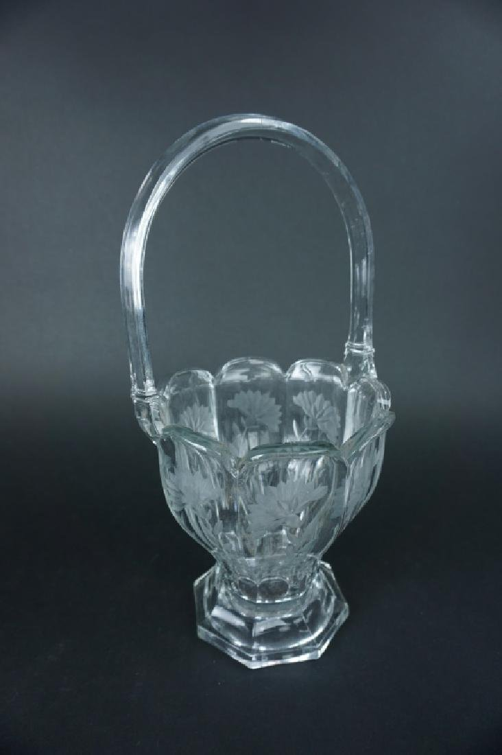 ANTIQUE HEISEY ETCHED GLASS FLOWER BASKET