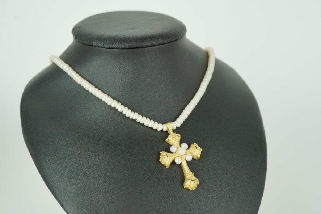 14K GOLD SEED PEARL NECKLACE & CROSS PENDANT