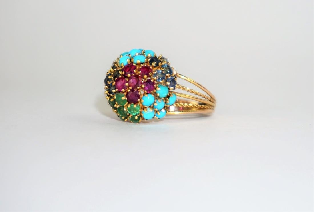 10K GOLD MULTI-COLORED CLUSTER RING