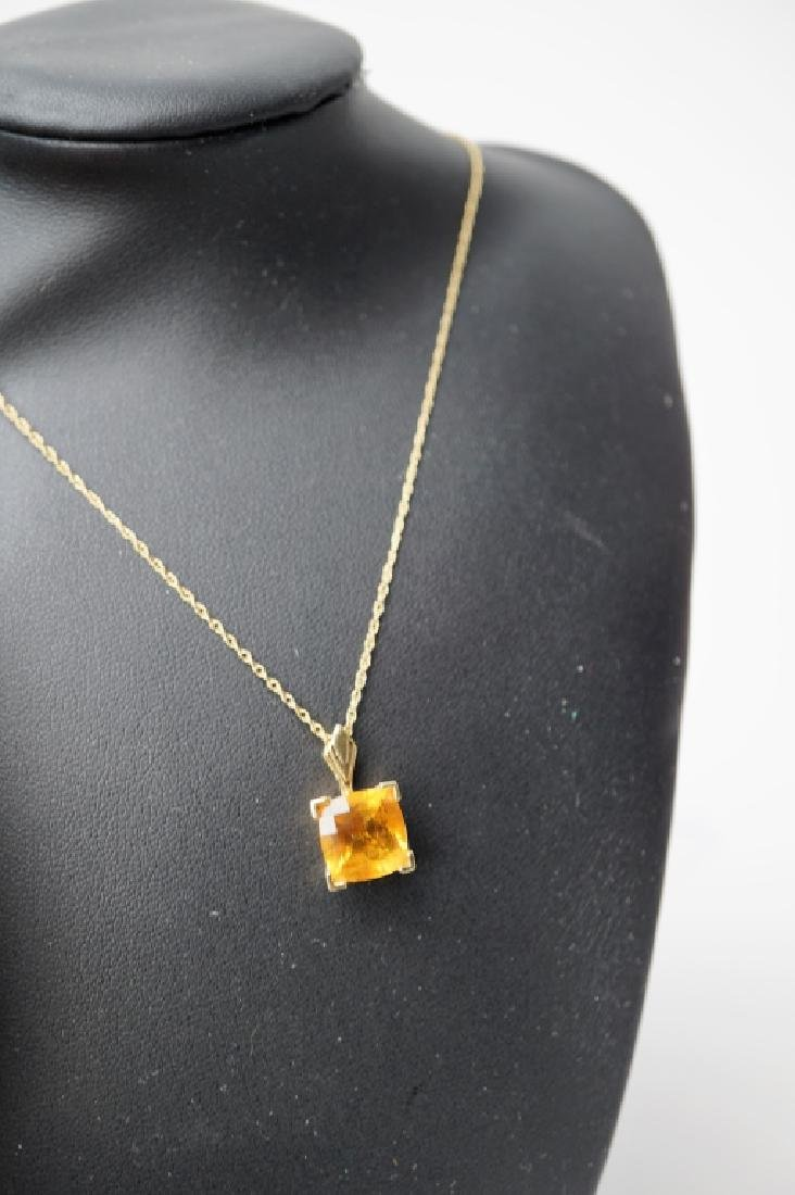 14K YELLOW GOLD AND CITRINE NECKLACE & PENDANT