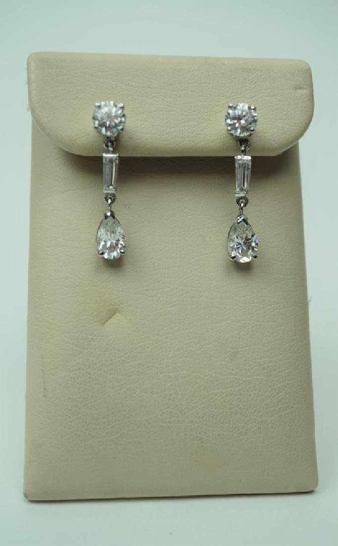 PAIR OF 14K WHITE GOLD AND CUBIC ZIRCONIA EARRINGS