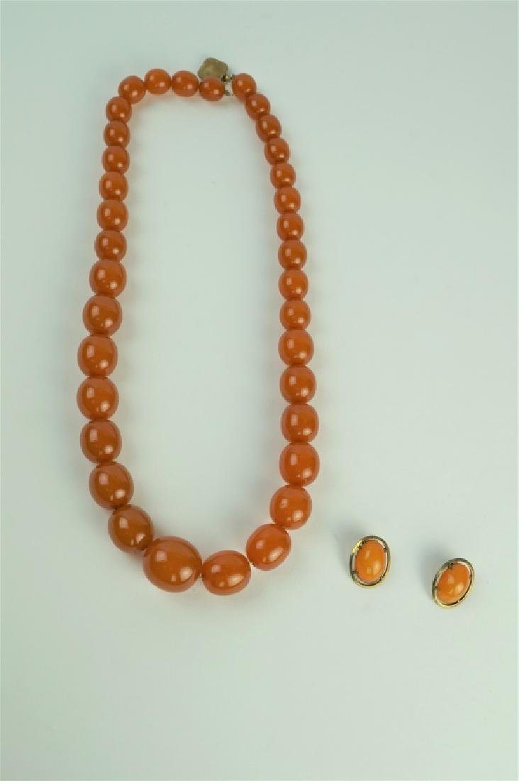 BUTTERSCOTCH AMBER NECKLACE & EARRINGS