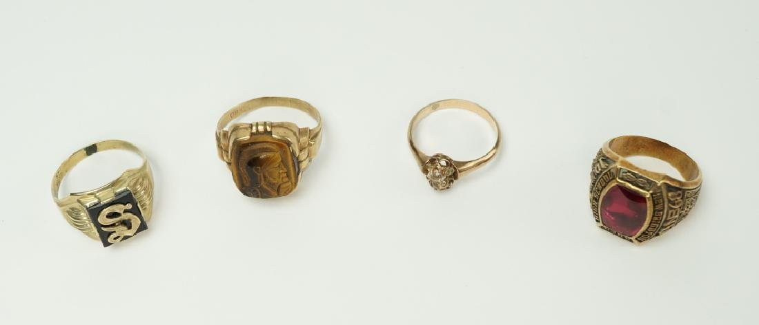 (4) ASSORTED 10K YELLOW GOLD RINGS
