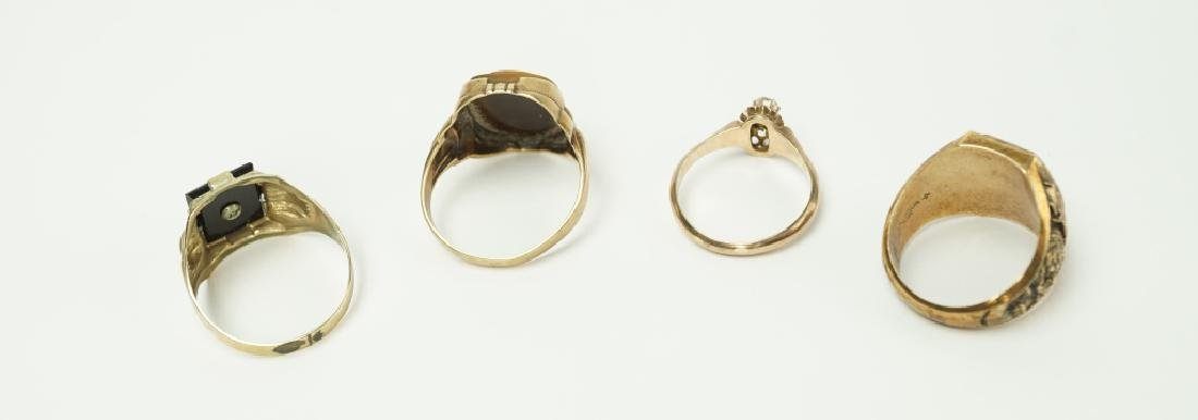 (4) ASSORTED 10K YELLOW GOLD RINGS - 4