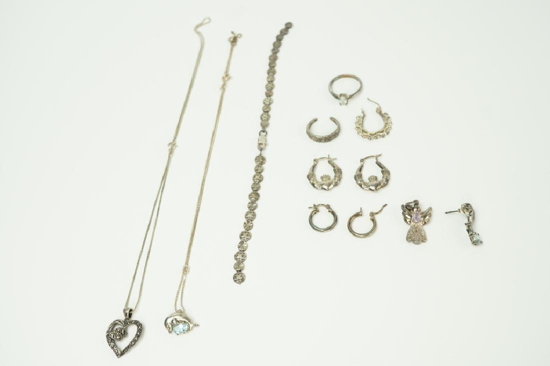 10pcs ASSORTED STERLING SILVER JEWELRY
