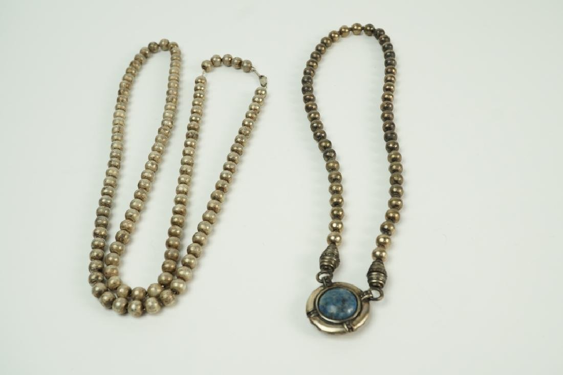 (2) STERLING SILVER BEADED NECKLACES