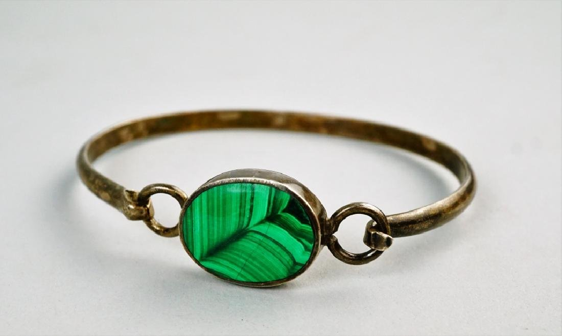 MEXICO STERLING & MALACHITE BANGLE BRACELET