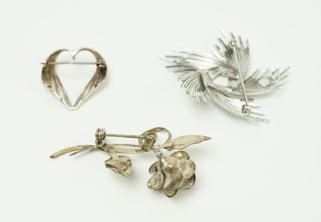 (3) STERLING SILVER PINS / BROOCHES - 3