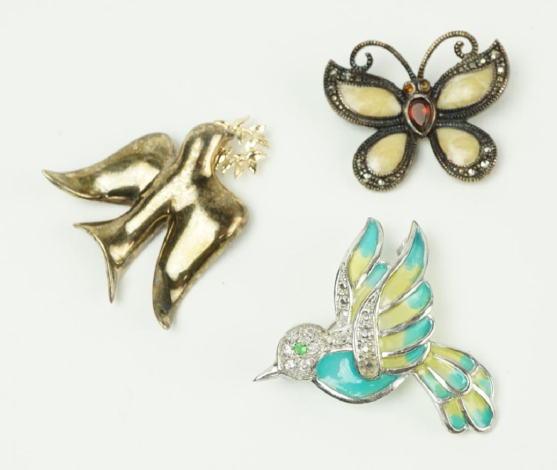 (3) STERLING SILVER PINS / BROOCHES