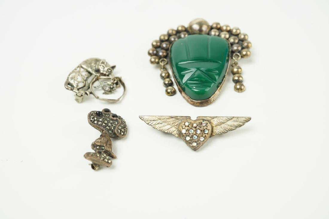 (4) STERLING SILVER PINS / BROOCHES