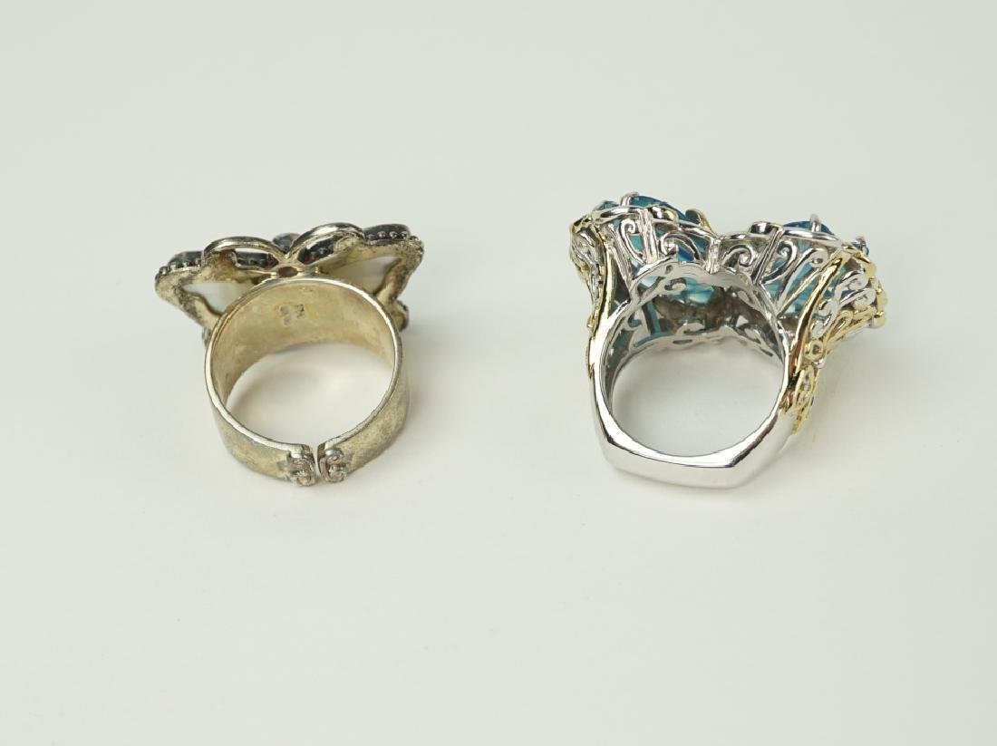 (2) DESIGNER STERLING & 18K GOLD BUTTERFLY RINGS - 5