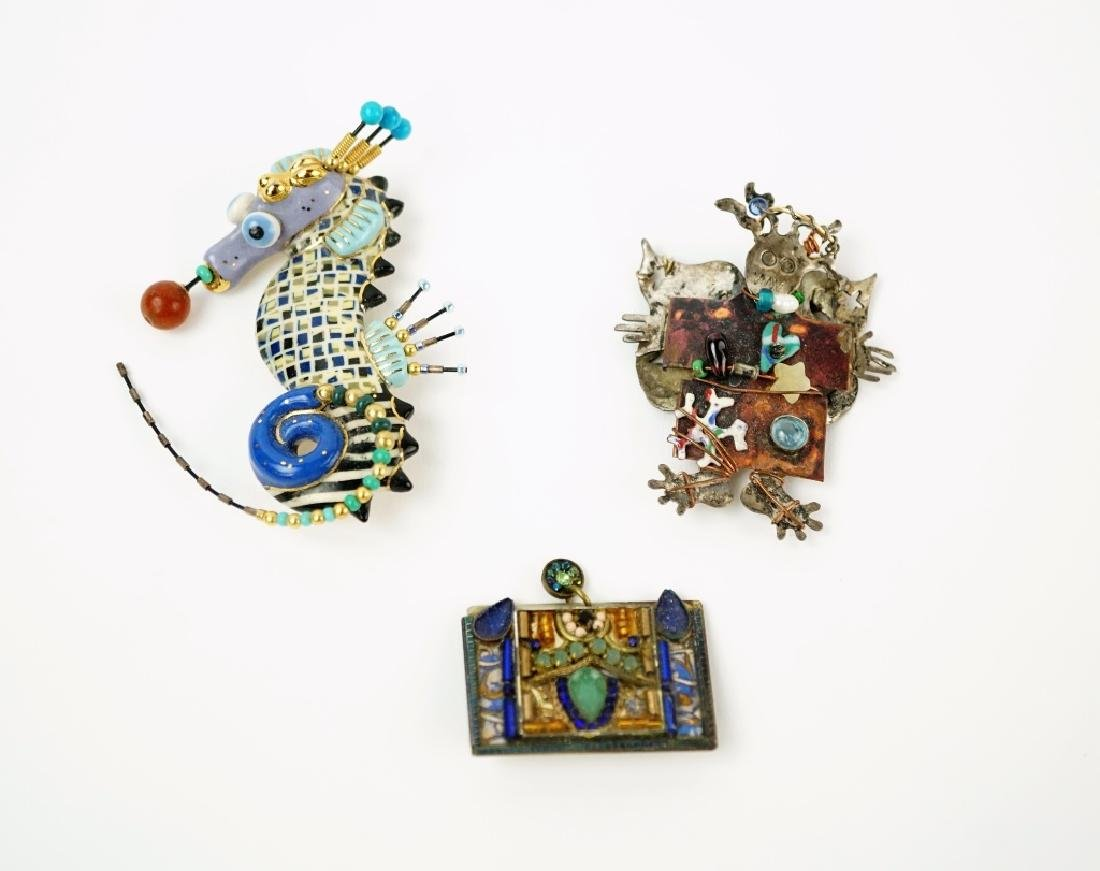 (3) ASSORTED HAND MADE BROOCHES