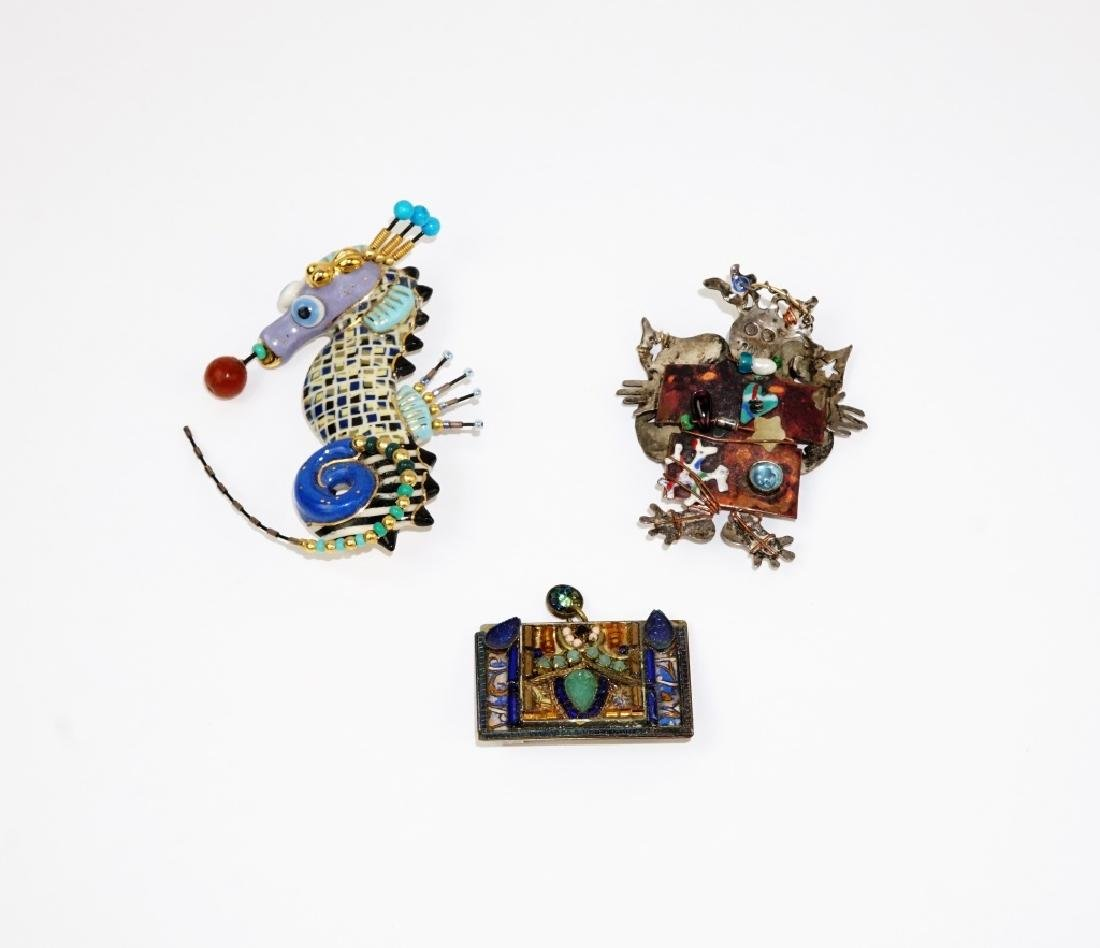 (3) ASSORTED HAND MADE BROOCHES - 2