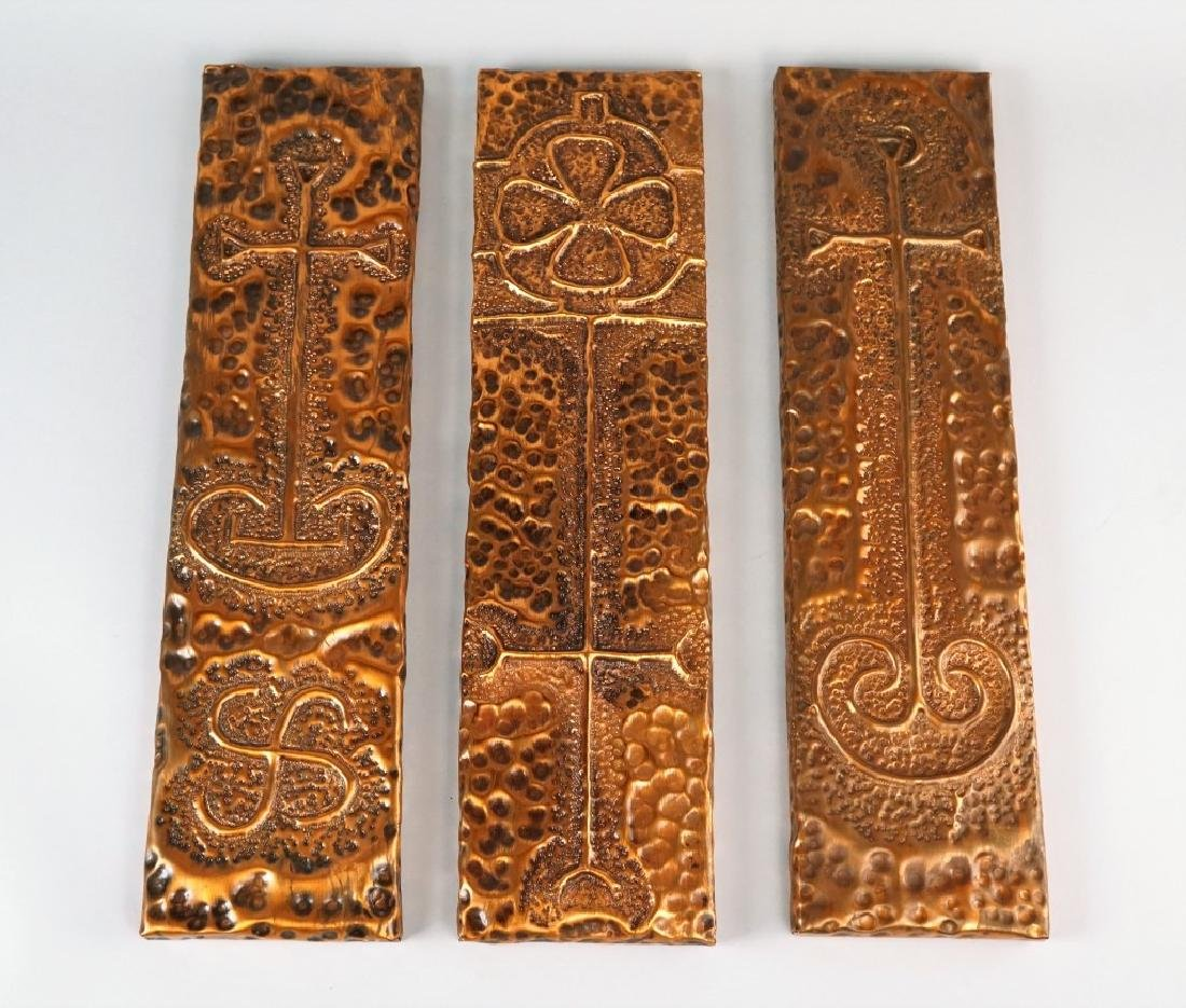 (3) HAND WROUGHT COPPER CELTIC CROSS REPLICAS - 2