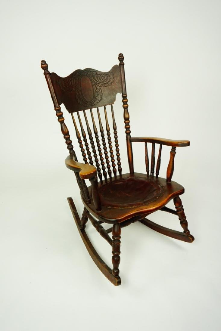 ANTIQUE PRESSED BACK NURSING ROCKER