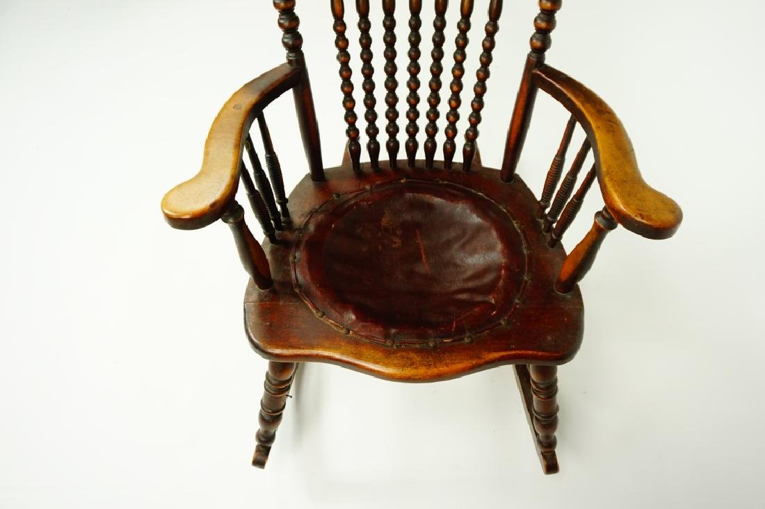 ANTIQUE PRESSED BACK NURSING ROCKER - 5