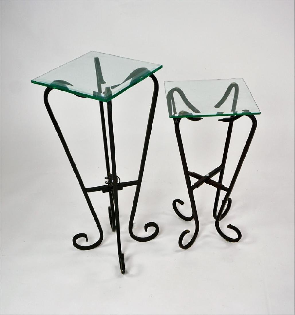 TWO FREE FORM IRON & GLASS TOP STANDS