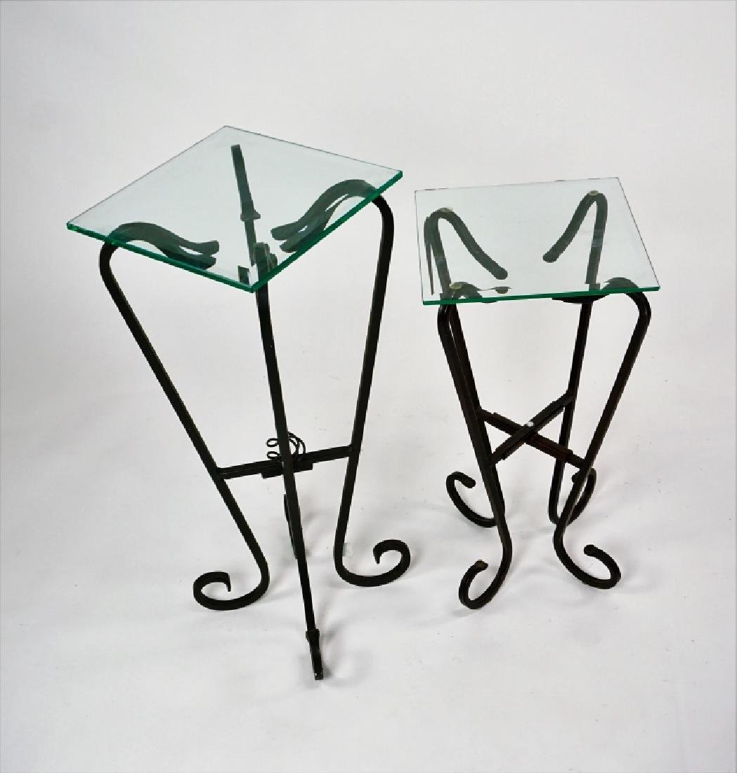 TWO FREE FORM IRON & GLASS TOP STANDS - 2