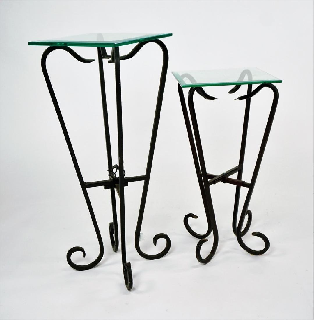 TWO FREE FORM IRON & GLASS TOP STANDS - 3