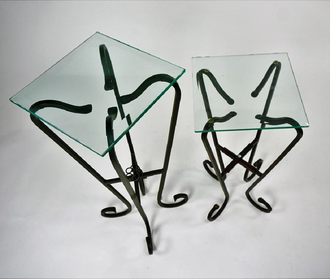 TWO FREE FORM IRON & GLASS TOP STANDS - 4