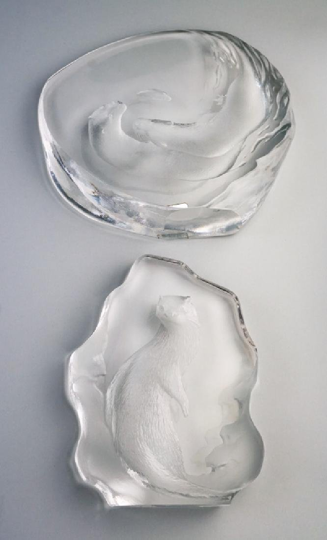 (2) MATS JONASSON CRYSTAL OTTER SCULPTURES - 3