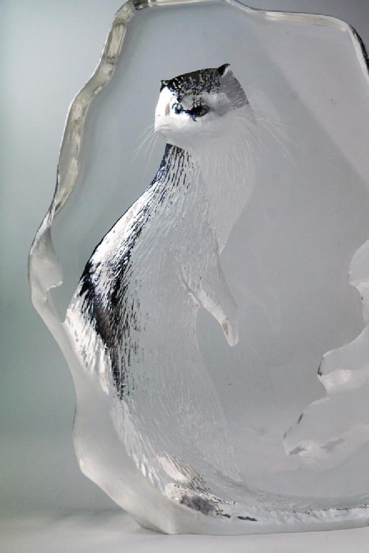 (2) MATS JONASSON CRYSTAL OTTER SCULPTURES - 8