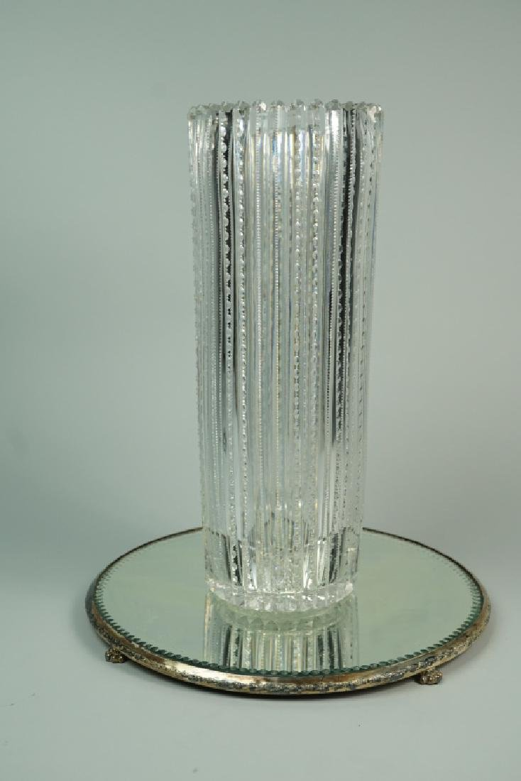 TALL CUT CRYSTAL VASE AND DISPLAY TRAY