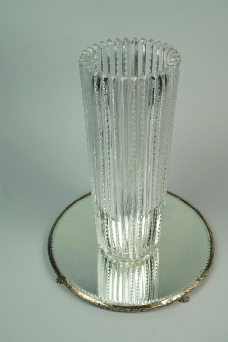 TALL CUT CRYSTAL VASE AND DISPLAY TRAY - 2