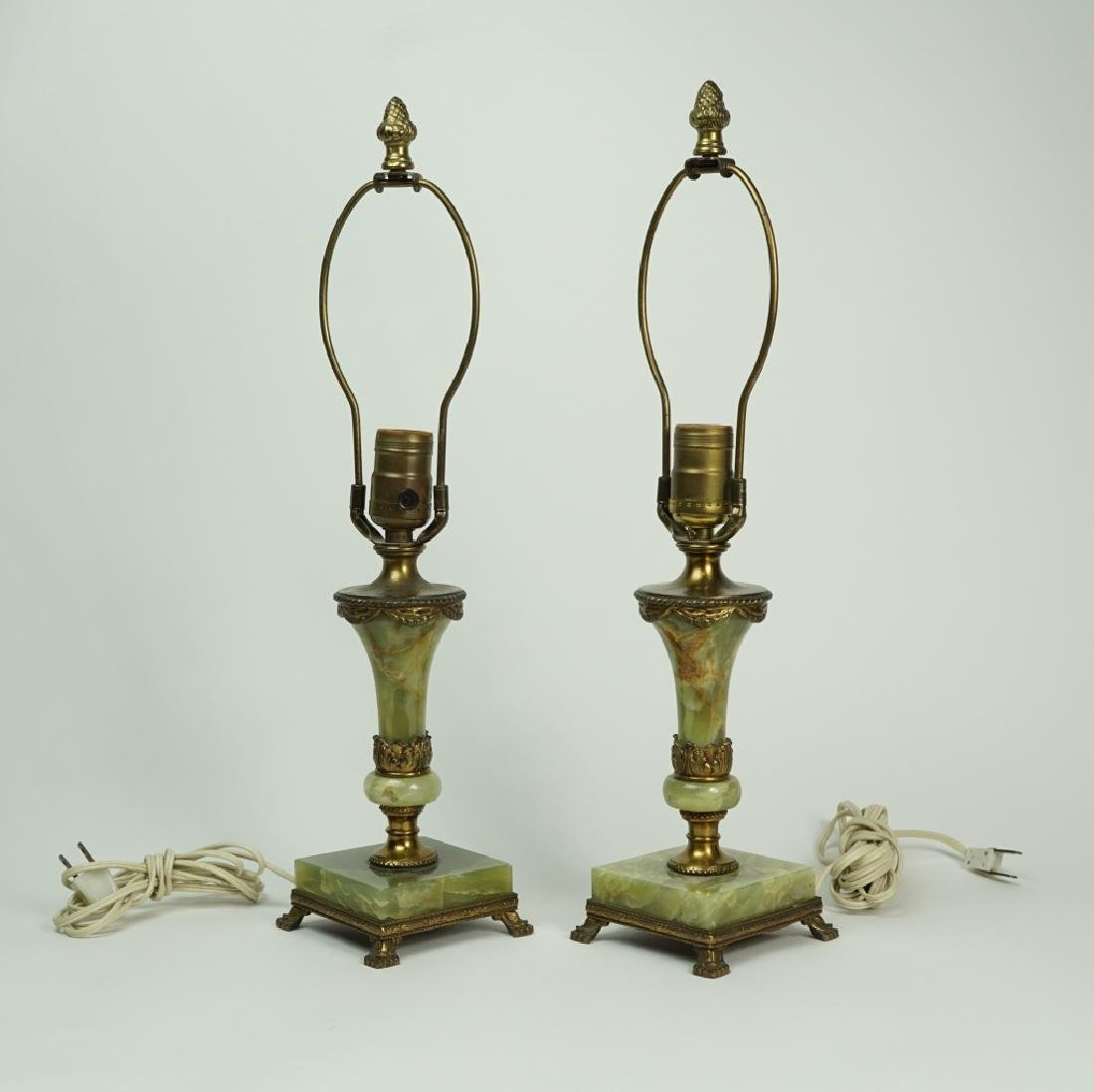 PAIR OF GREEN ONYX LAMPS