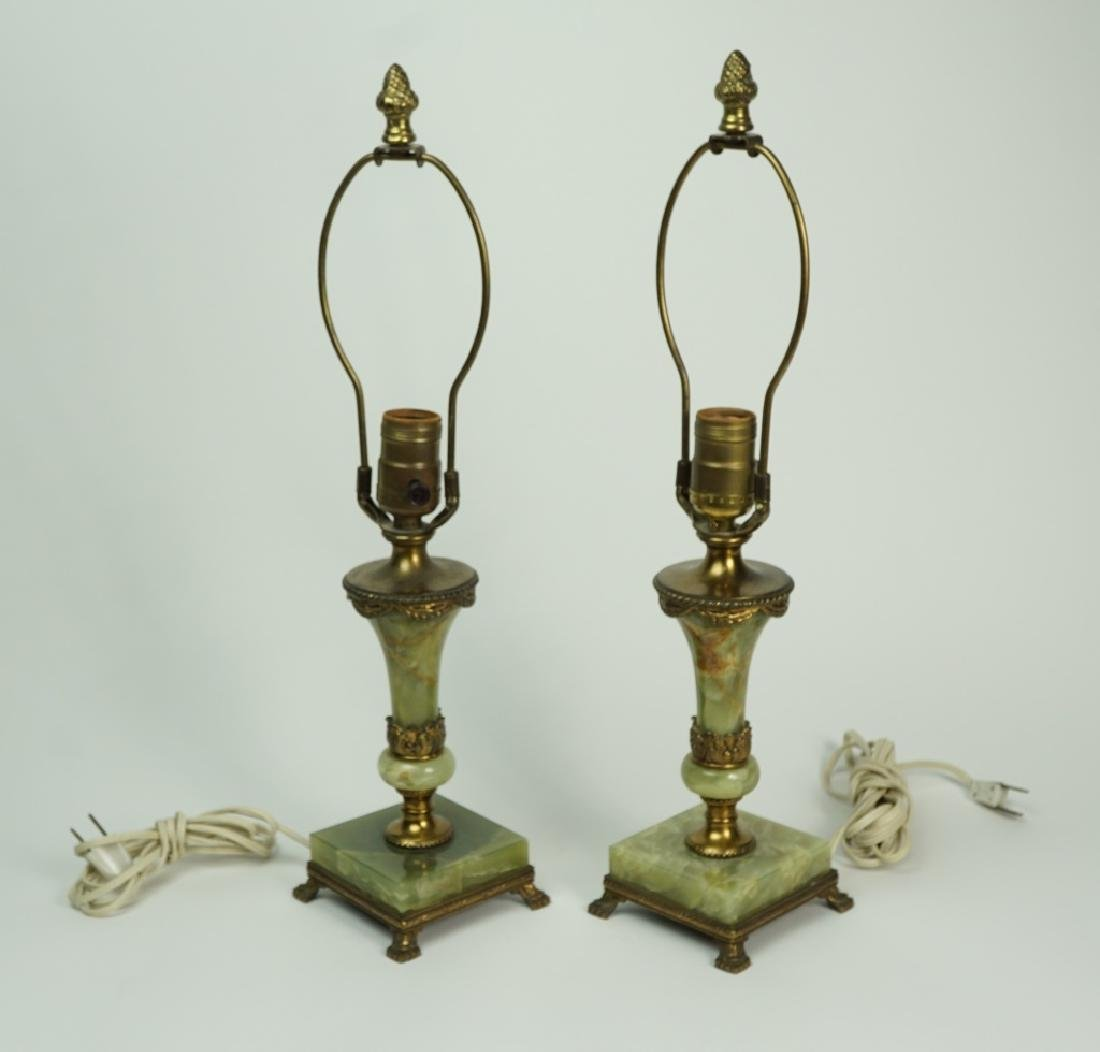 PAIR OF GREEN ONYX LAMPS - 2