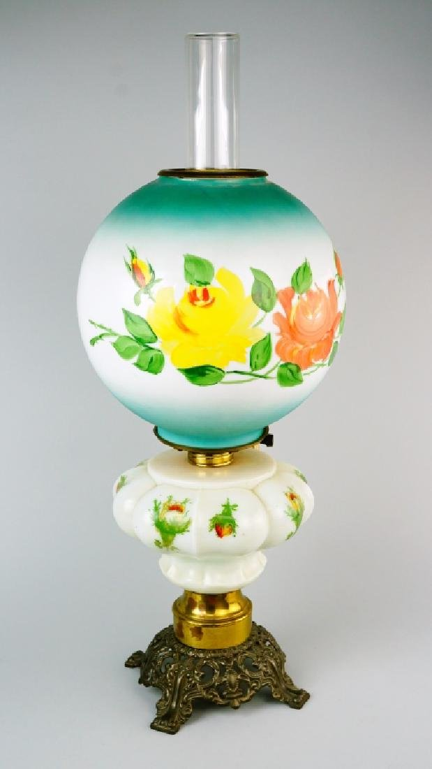 ELECTRIFIED MILK GLASS GONE WITH THE WIND OIL LAMP