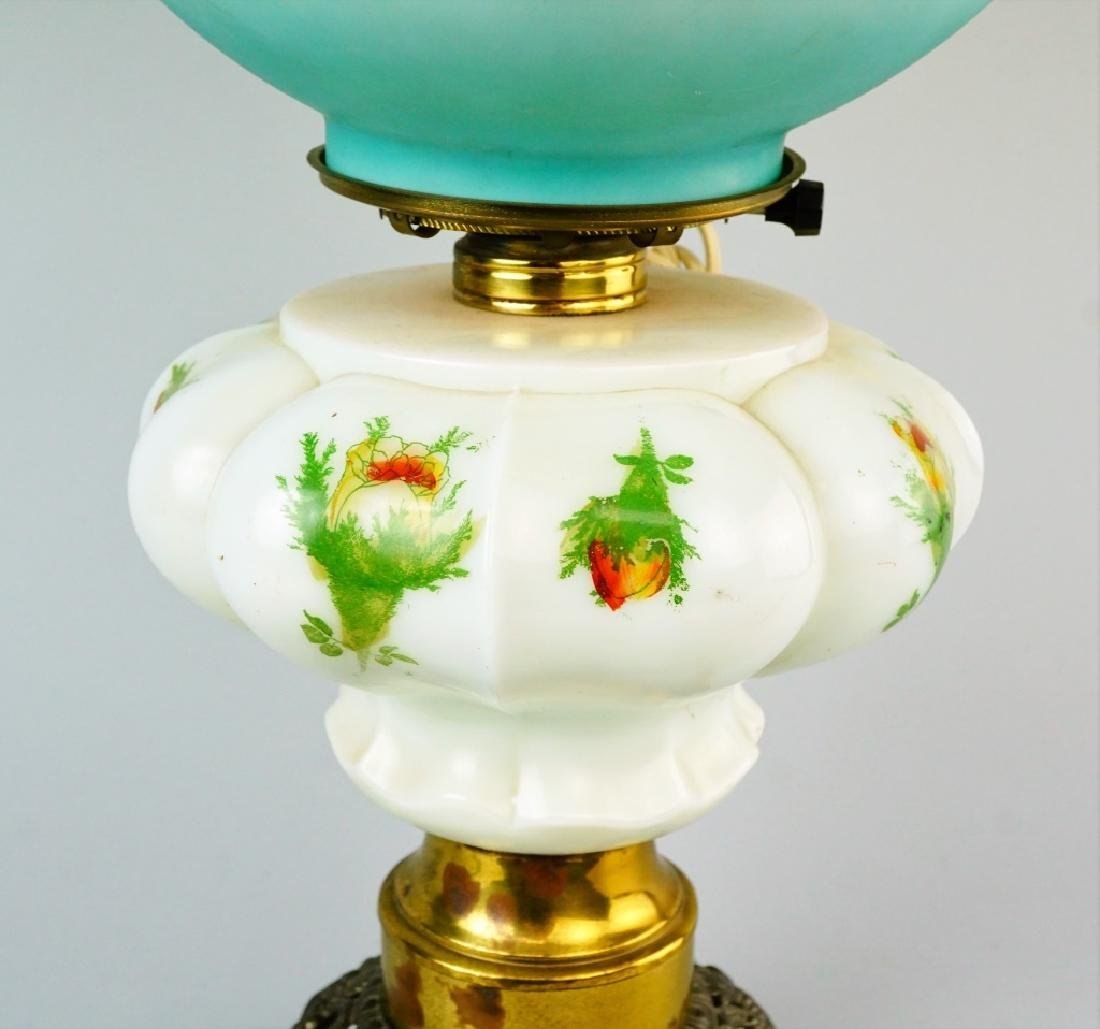 ELECTRIFIED MILK GLASS GONE WITH THE WIND OIL LAMP - 3