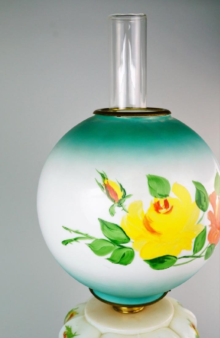 ELECTRIFIED MILK GLASS GONE WITH THE WIND OIL LAMP - 4