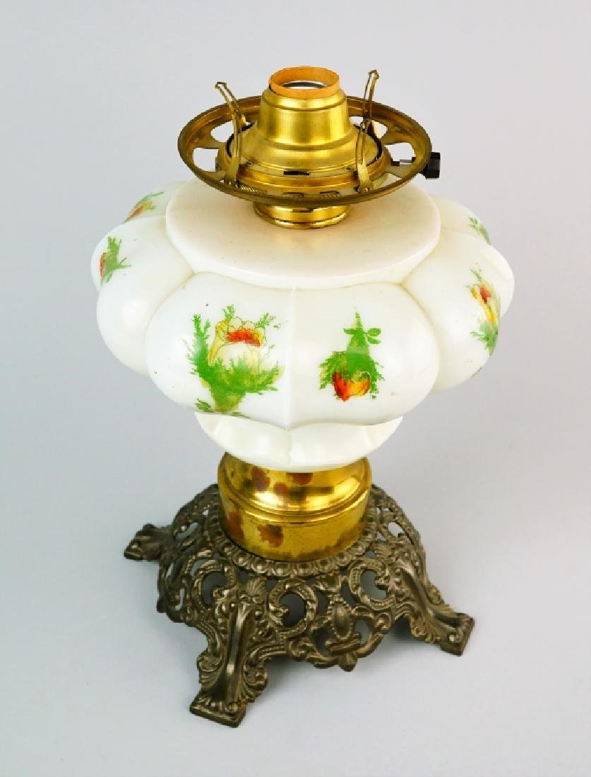 ELECTRIFIED MILK GLASS GONE WITH THE WIND OIL LAMP - 7