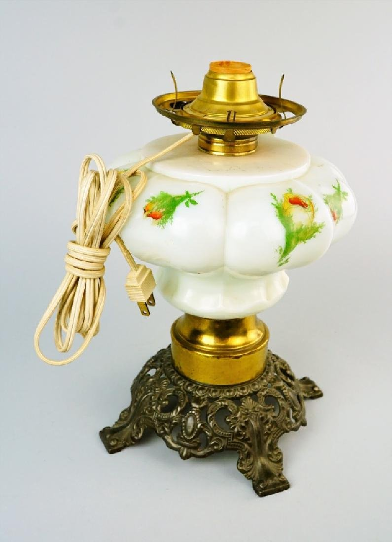 ELECTRIFIED MILK GLASS GONE WITH THE WIND OIL LAMP - 8