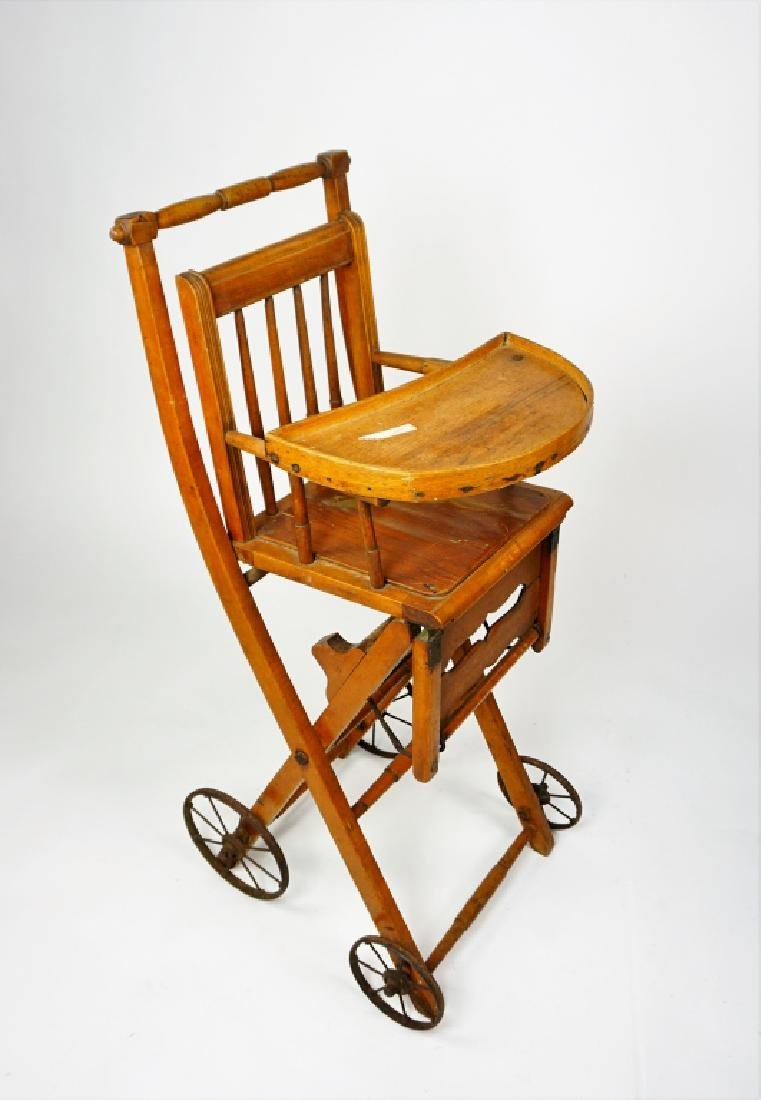 ANTIQUE HIGH CHAIR/STROLLER